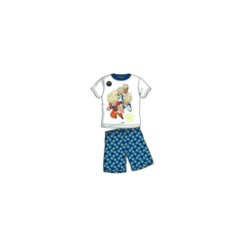 Blanco Pijama Dragon Ball Super Saiyan niño manga corta