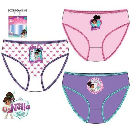 Pack de 3 braguitas NELLA The Princess Knight niña infantil