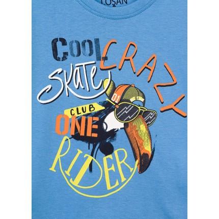 Detalle estampado Camiseta Losan Kids niño Club one Rider infantil manga corta