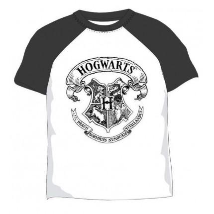 Camiseta Harry Potter Hogwarts niño manga corta azul resto blanco