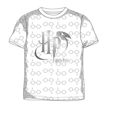 Camiseta Harry Potter HP niño manga corta vinilo en color plata con las iniciales de Harry Potter