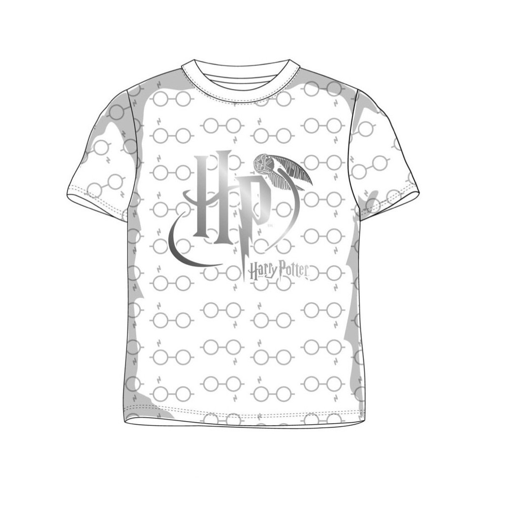Camiseta Harry Potter HP niño manga corta vinilo en color plata con las iniciales de Harry Potter