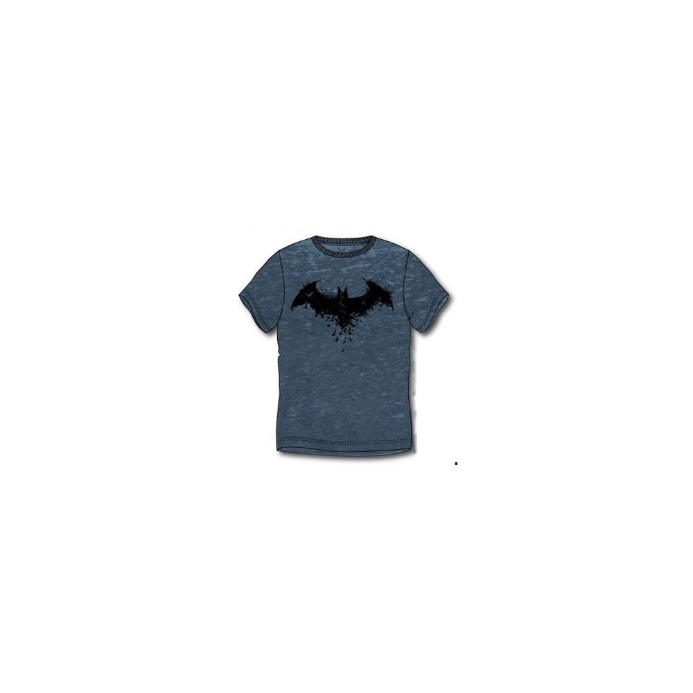 Camiseta Batman adulto lavada manga corta azul