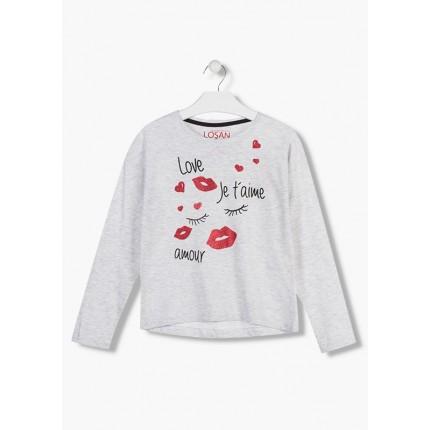 Camiseta Losan niña junior Je t'aime manga larga