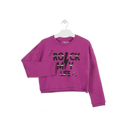 Sudadera Losan niña Rock my life junior corta
