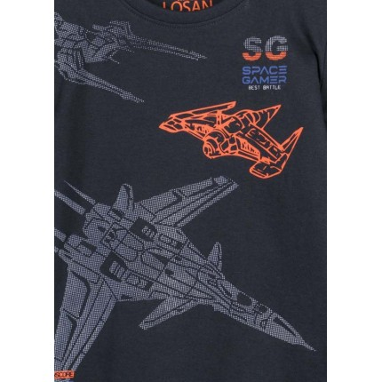 Detalle estampado Camiseta Losan Kids niño Space Gamer infantil manga larga