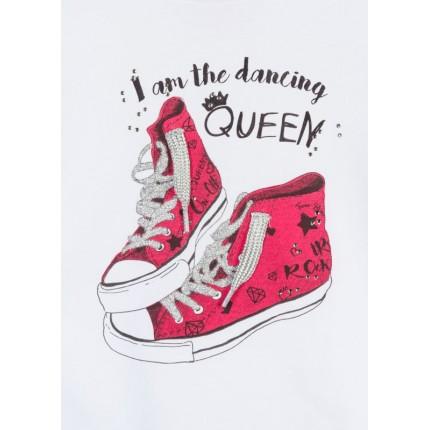 Detalle estampado Camiseta Losan Kids niña infantil Dancing Queen manga larga