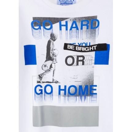 Detalle Camiseta Losan niño junior Go Hard or Go Home manga larga
