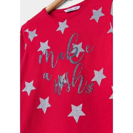 Detalle estampado Camiseta Tiffosi Kids Mercile niña junior Estrellas