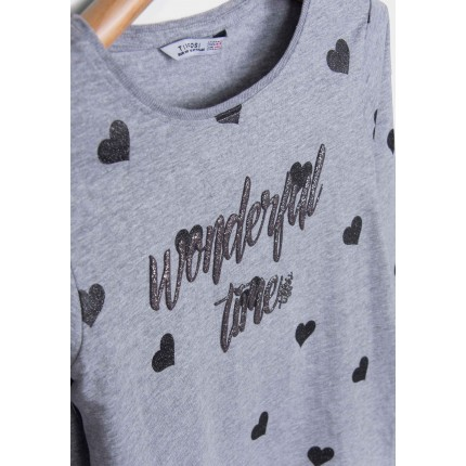 Detalle estampado Camiseta Tiffosi Kids Mercile niña junior Corazones