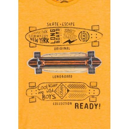 Detalle estampado Camiseta Losan KIds niño READY! infantil manga larga