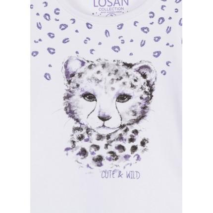 Detalle estampado Camiseta Losan Kids niña Cute & Wild infantil manga larga