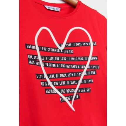 Detalle estamapado y bordado Camiseta Tiffosi Kids Barcelona niña manga corta