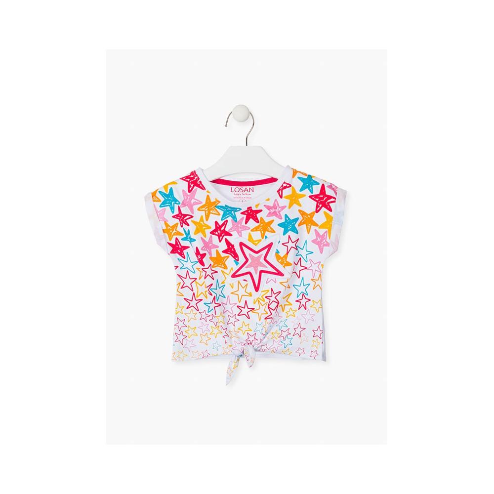 Camiseta Losan Kids niña Estrellas anudada