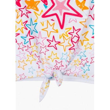 Detalle nudo Camiseta Losan Kids niña Estrellas anudada