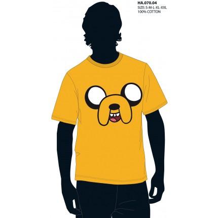 Camiseta Hora de Aventuras Adulto Cara Jake el perro manga corta