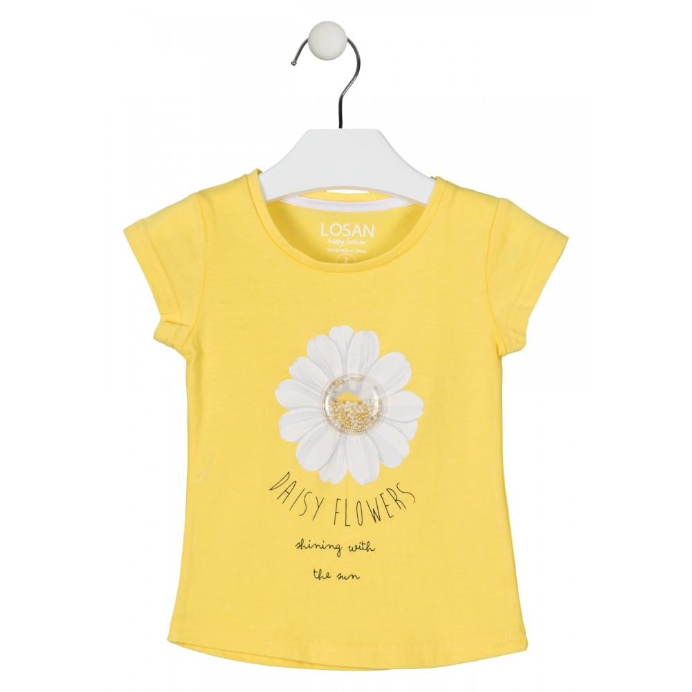 Camiseta Losan Kids niña Margaritas manga corta
