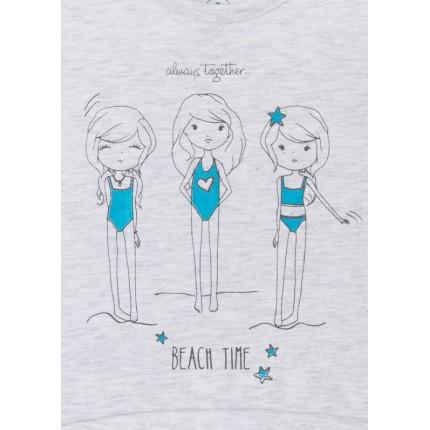 Detalle estampado Camiseta Losan Kids niña BEACH TIME corta
