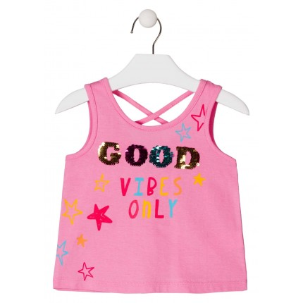 Camiseta Losan Kids niña Good Vibes Only sin mangas