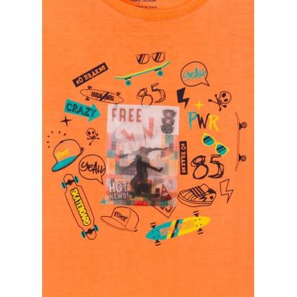 Detalle dibujo Camiseta Losan Kids niño RIDER infantil manga corta