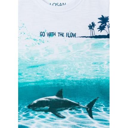 Detalle estampado Camiseta Losan Kids niño SHARK infantil manga corta