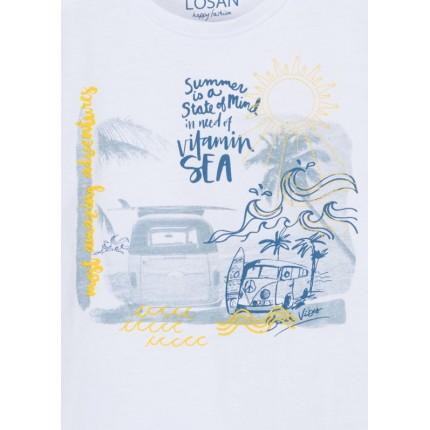 Detalle estampado Camiseta Losan Kids niño Summer manga corta
