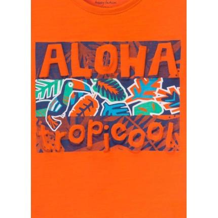 Detalle estampado Camiseta Losan Kids niño Aloha TropiCool manga corta