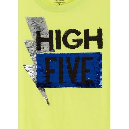 Detalle lentejuelas Camiseta Losan niño High Five manga corta