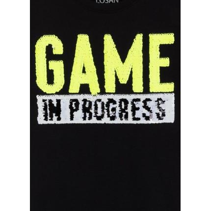 Detalle lentejuelas Camiseta Losan niño Game in Progress manga corta
