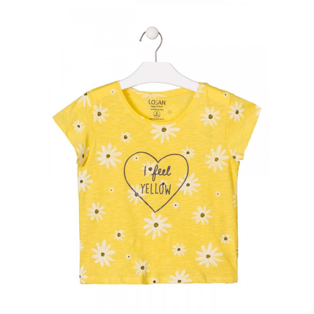 Camiseta Losan niña junior I feel YELLOW manga corta