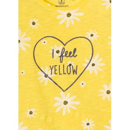 Detalle estampado Camiseta Losan niña junior I feel YELLOW manga corta