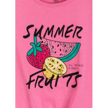 Detalle estampado Camiseta Losan niña junior Summer Fruits manga corta