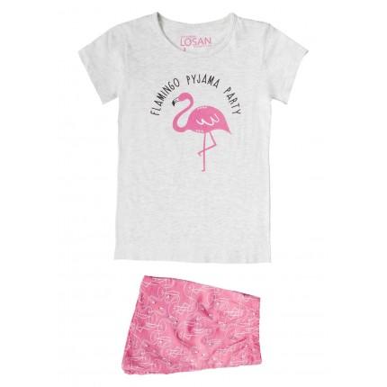 Pijama Losan niña Flamingo Party manga corta
