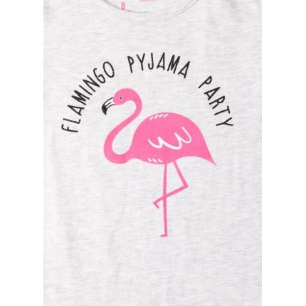 Detalle estampado Pijama Losan niña Flamingo Party manga corta