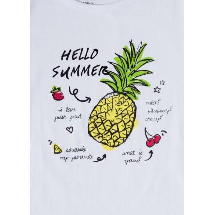 Detalle estampado Pijama Losan niña  Hello Summer manga corta