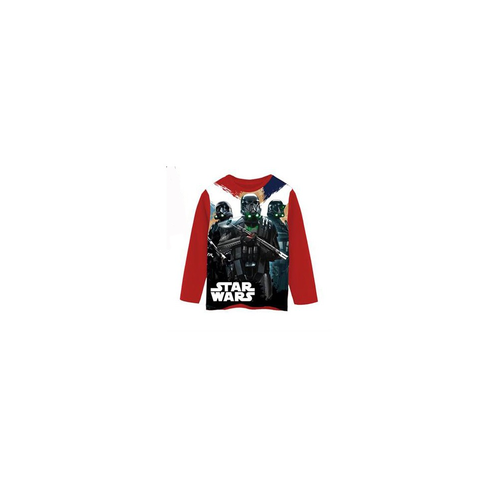 Camiseta Star Wars niño junior manga larga Rojo