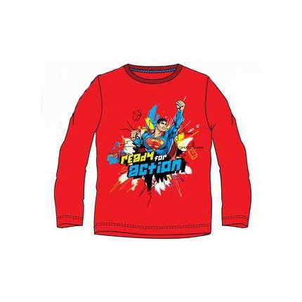 Camiseta Superman niño manga larga Rojo