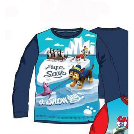 Camiseta Paw Patrol niño manga larga Azul