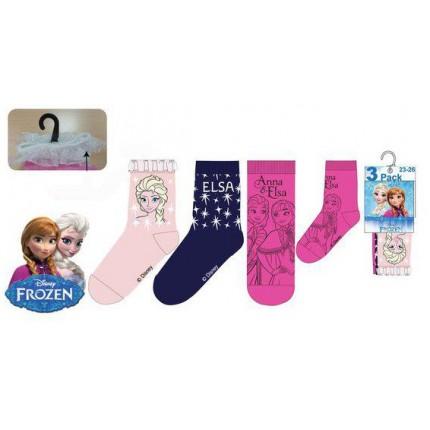 Calcetines Frozen Pack de 3 niña infantil combinación con azul, rosa y fucsia