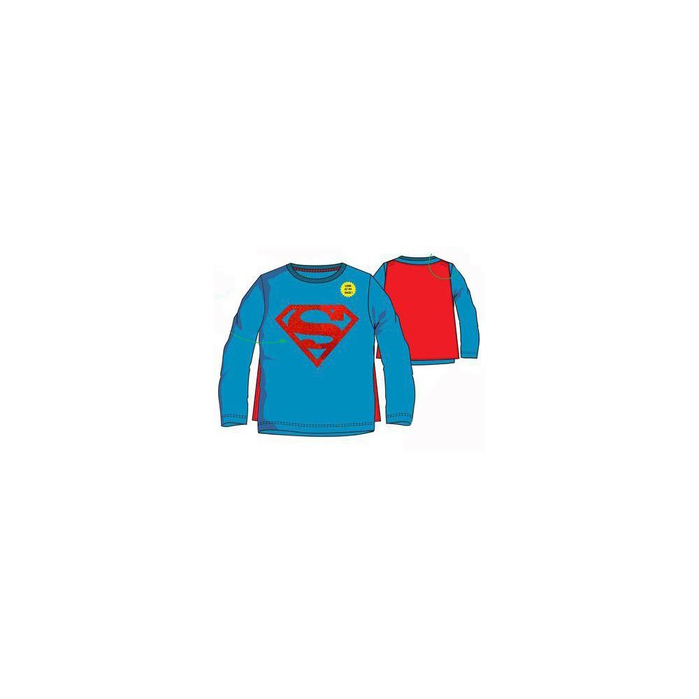 Camiseta Superman niño manga larga con capa Azul medio