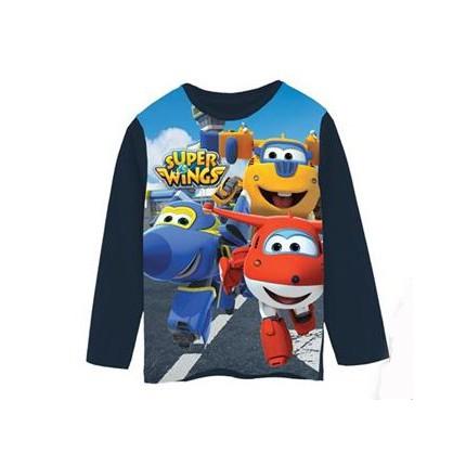 Camiseta Super Wings niño manga larga azul marino