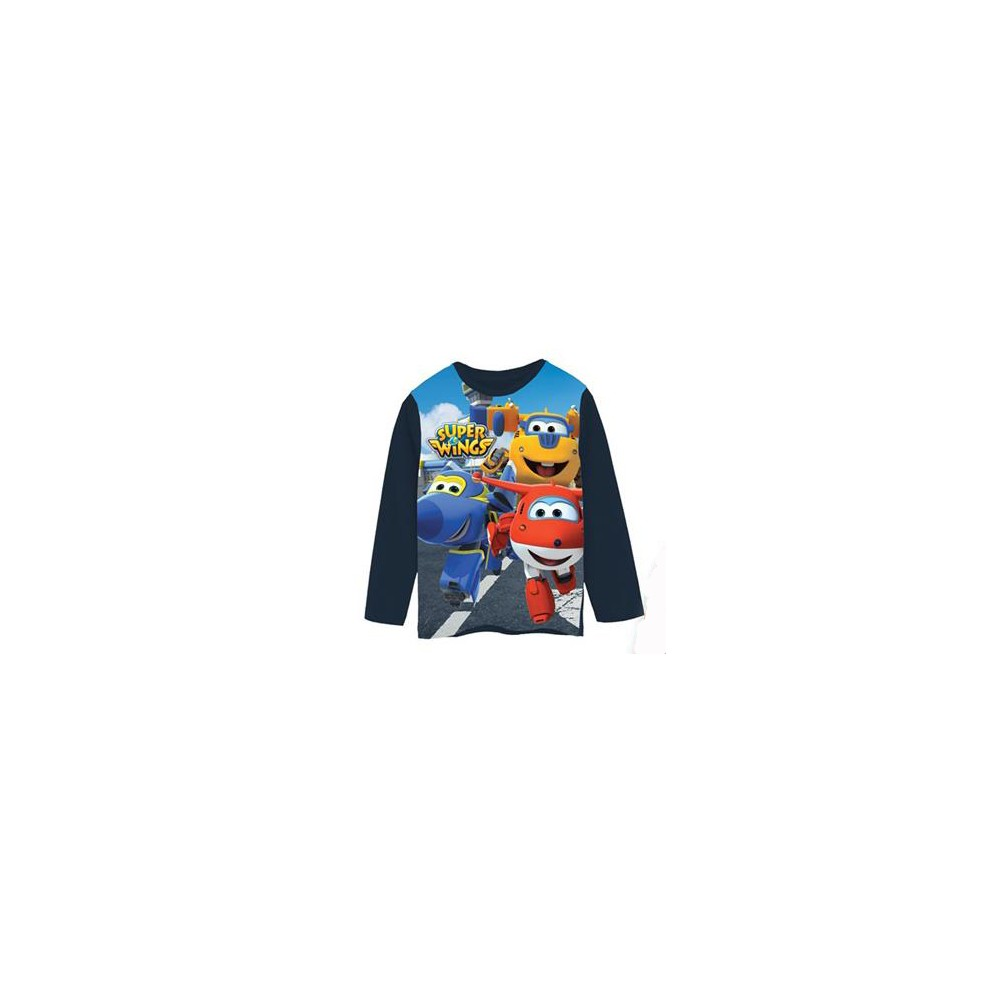 Camiseta Super Wings niño manga larga azul marino