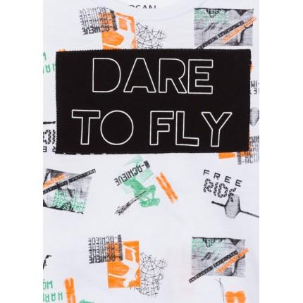 Detalle estampado Camiseta Losan niño junior Dare To Fly manga corta
