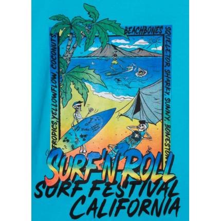 Detalle estampado Camiseta Losan niño junior Surf Festival California manga corta
