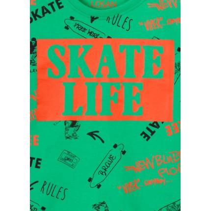 Detalle estampado Camiseta Losan niño junior Skate Life manga corta