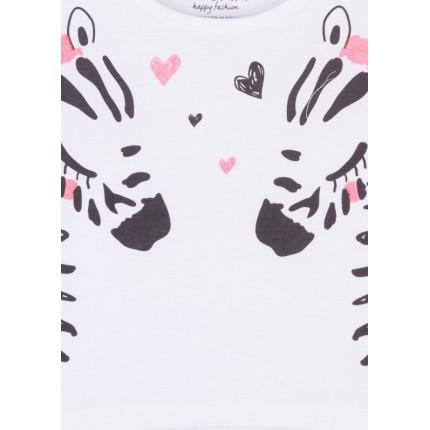 Detalle estampado Camiseta Losan Kids niña Cebras manga corta