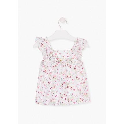 Espalda Camisa Losan Kids niña infantil Flores sin mangas