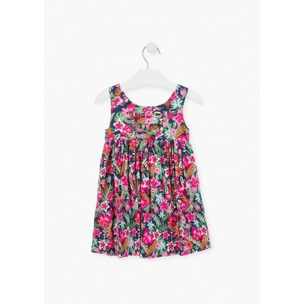 Espalda Vestido Losan Kids niña infantil Flores sin mangas