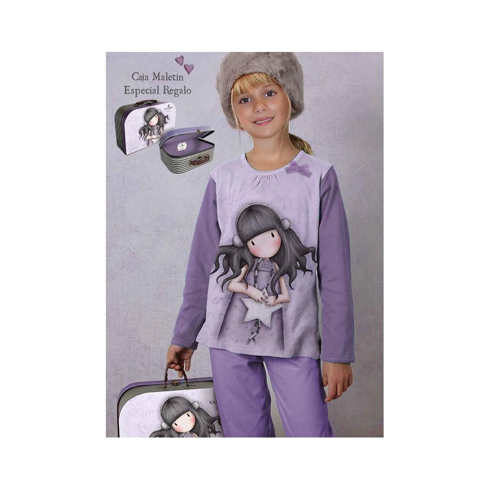 Pijama niña Gorjuss All These words manga larga más Maleta de regalo