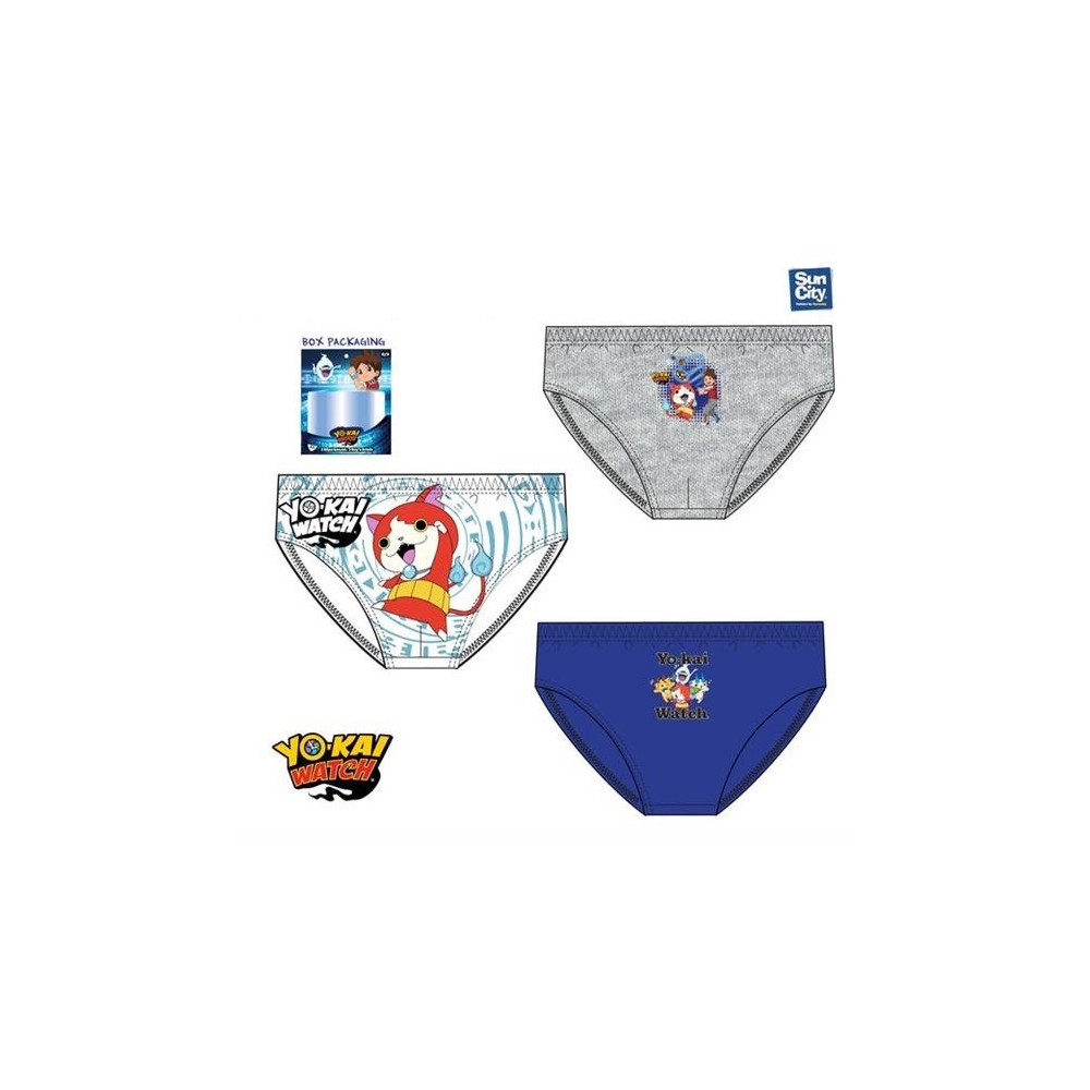 Pack de 3 Slips Yo kai Watch niño infantil